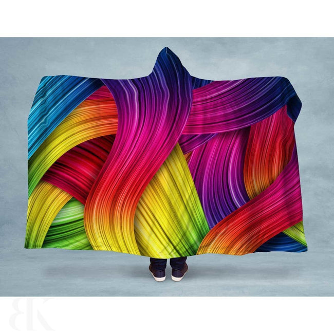 Colorful Paint Strokes Neon Hooded Blanket-BK Variety Market