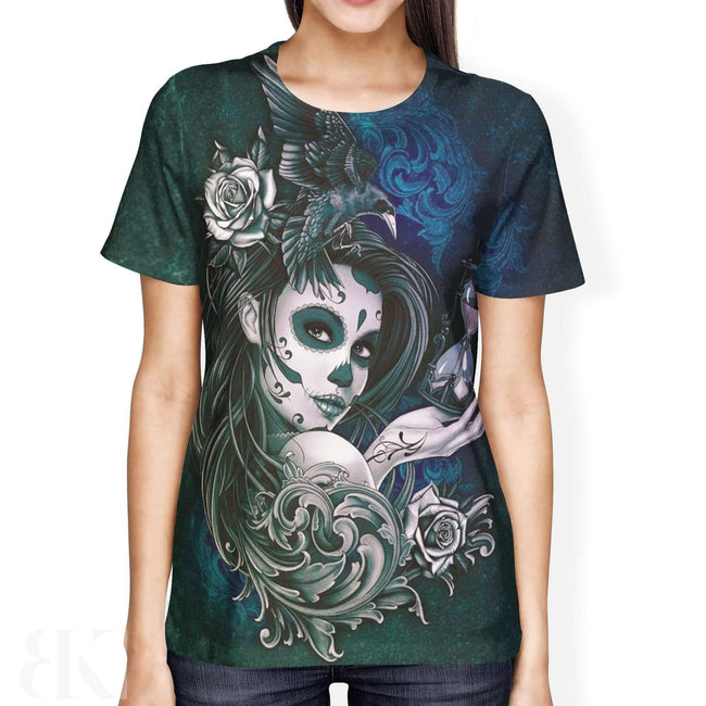 Female Sugar Skull Face Ladies' T-Shirt-BK Variety Market