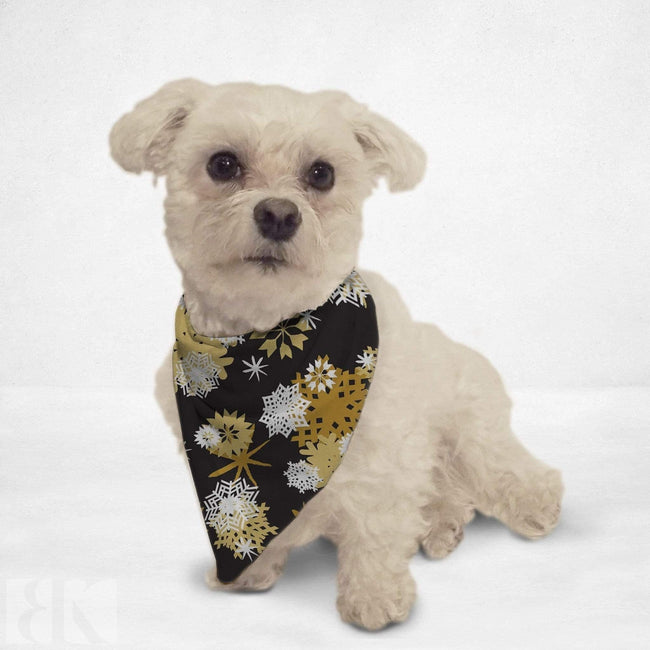 Golden Snowflakes Cat & Dog Bandana - Medium - Multicolored-BK Variety Market
