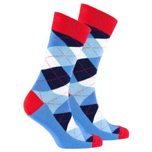 Men's Cerulean Red Argyle Socks-BK Variety Market