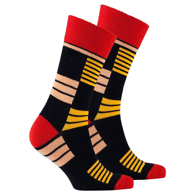 Men's Orange Stripe Socks-BK Variety Market