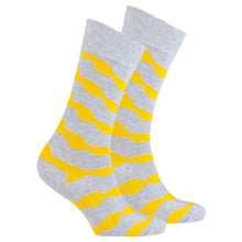 Men's Yellow Stone Wave Socks-BK Variety Market