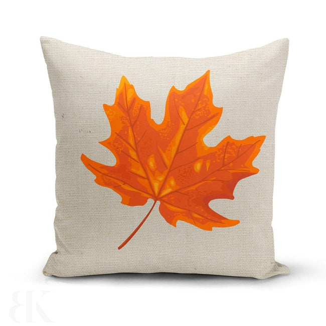 Orange Maple Leaf Pillow Cover-BK Variety Market