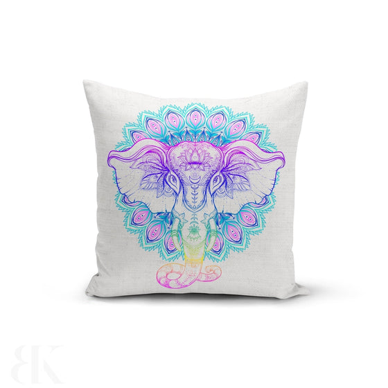 Rainbow Elephant Mandala Pillow Cover-BK Variety Market