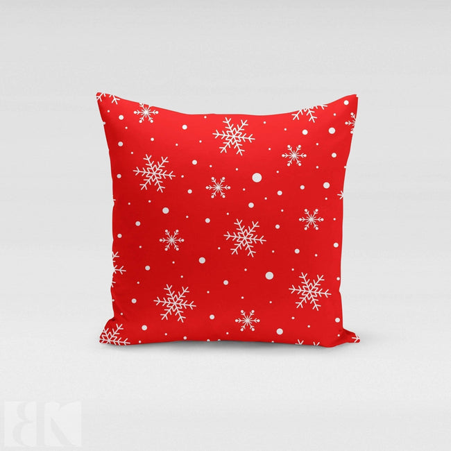 Red Snow Flakes Pillow Cover-BK Variety Market