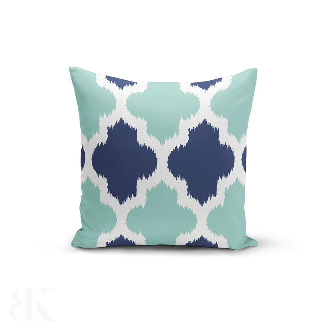 Teal Blue Geometric Pillow Cover-BK Variety Market