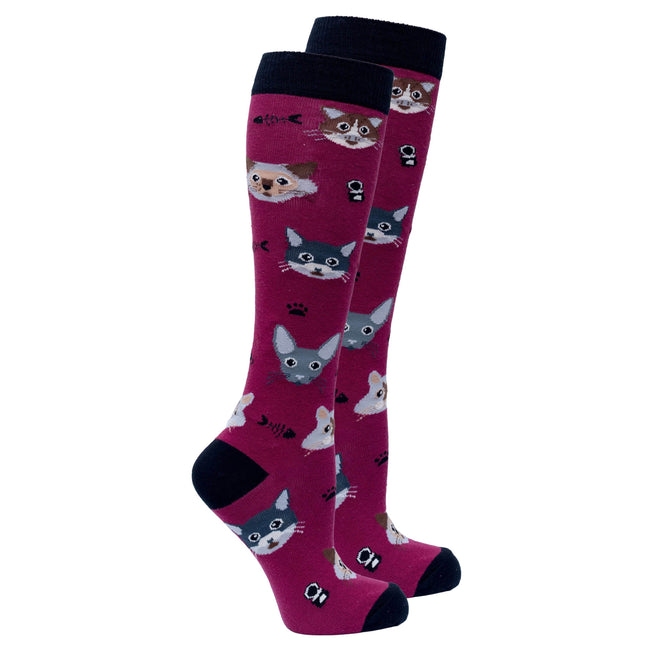 Women's Cute Cats Knee High Socks-BK Variety Market