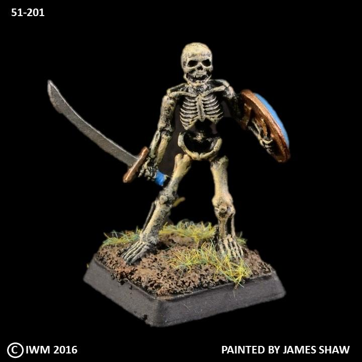 51-0201:  Unarmored Skeleton with Sword and Shield I