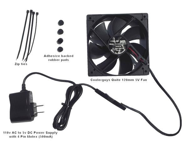 Coolerguys Quiet 120mm AC Powered Receiver/Component Cooling Fan Kit