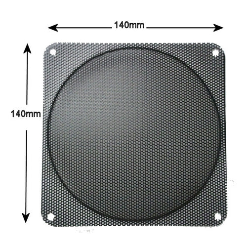 140x140mm Steel Mesh Filter Grill w/.9mm Diameter Hole Black - Coolerguys