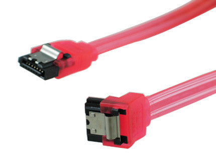 18 inch SATA 3.0 cable - straight to right angle, red
