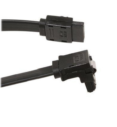18  inch Serial ATA Right Angle Cable Black w/ Metal Latch
