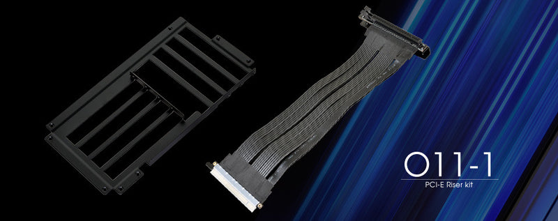Lian Li  Black 300 mm PCI-e Express 16X Riser Card Adapter Extender Cable Kit O11-1 X - Coolerguys