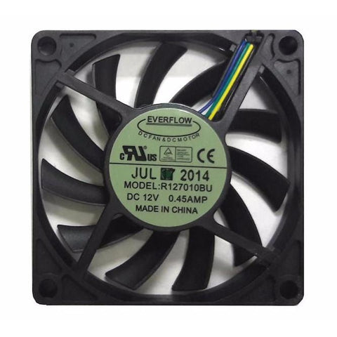 Everflow 70x70x10mm Ultra High Speed Dual Ball Bearing 12 Volt PWM Fan-R127010BUAF