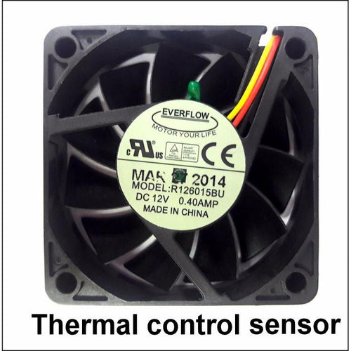 Everflow 60x60x15mm 12 Volt 3 Wire/ 3 Pin Fan With Thermistor-R126015BUT - Coolerguys