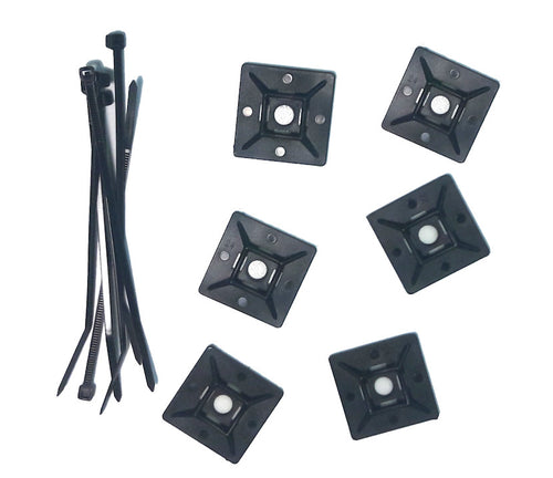"Nylon 4"" Zip Tie and Cable Adhesive Anchors (6 each) Black - Coolerguys"