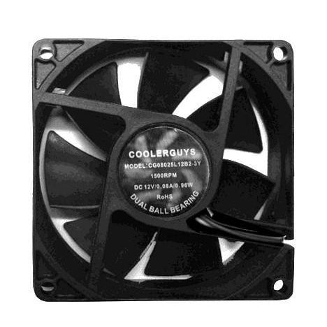 Coolerguys 80mm (80x80x25) Quiet Dual Ball Bearing 12 Volt Fan Low/Med/High Speed