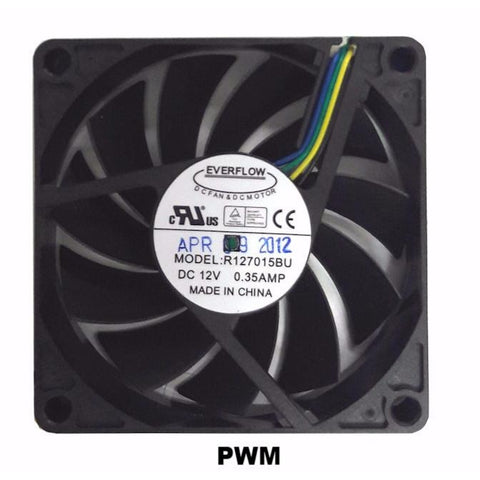Everflow 70x70x15mm PWM Dual Ball Bearing 12 Volt Fan-R127015BU