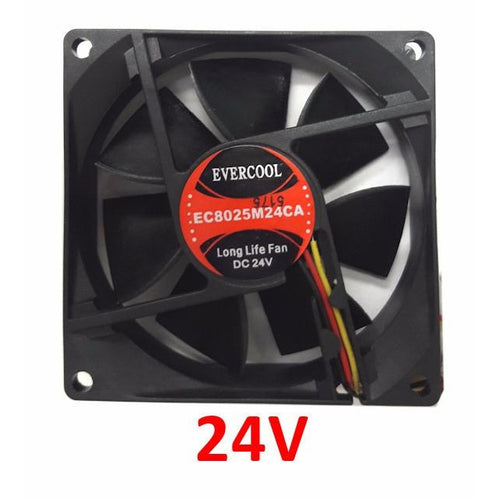 Evercool 80x80x25mm Medium Speed 24 Volt Fan with 3 Pin EC8025M24CA