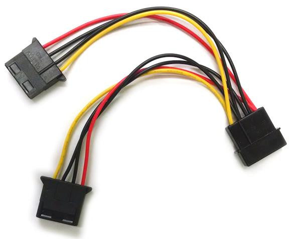 4-Pin Molex power splitter 6 inch wired and 12, 18, 30 and 36 inch Black Sealed - Coolerguys