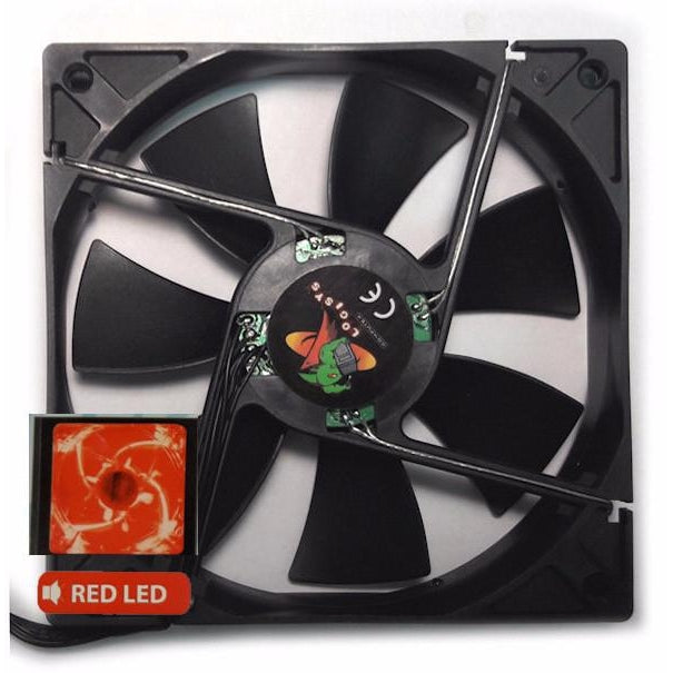 Logisys 120x120x25mm Red Speed Control HML LED Fan CF120BRC - Coolerguys
