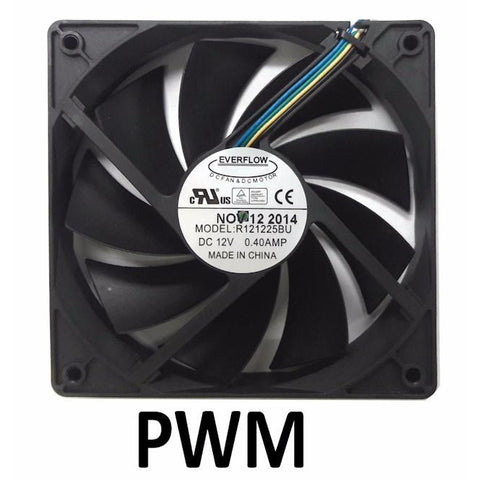 Everflow 120X120x25mm 12 Volt 9 Blade PWM Fan R121225BU