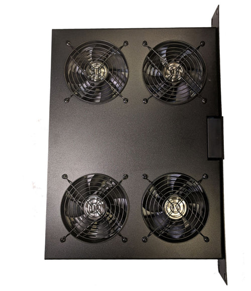 Coolerguys 1U 4 Fan Rackmount Server Cooling System with LED Programmable Thermostat