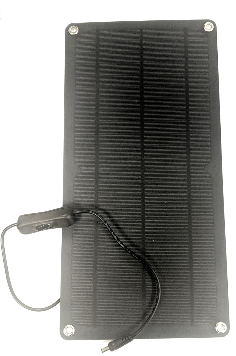 "Coolerguys 10w Solar Panel with 12v Output Barrel Connector and Switch (14.25"" x 7"") - Coolerguys"