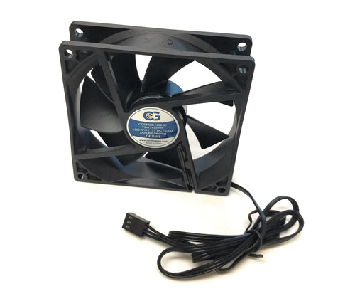 Coolerguys 92x92x25mm Ultra Quiet Low Speed Dual Ball Fan CG09225L12B2-3Y - Coolerguys