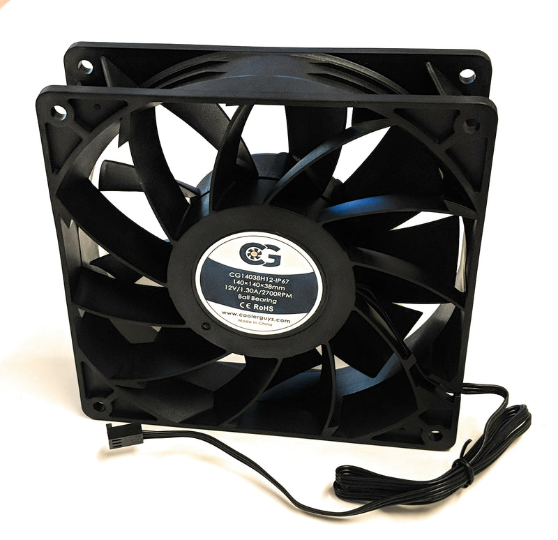 Coolerguys 140mm (140x140x38) High Airflow Waterproof IP67 12v Fan - Coolerguys