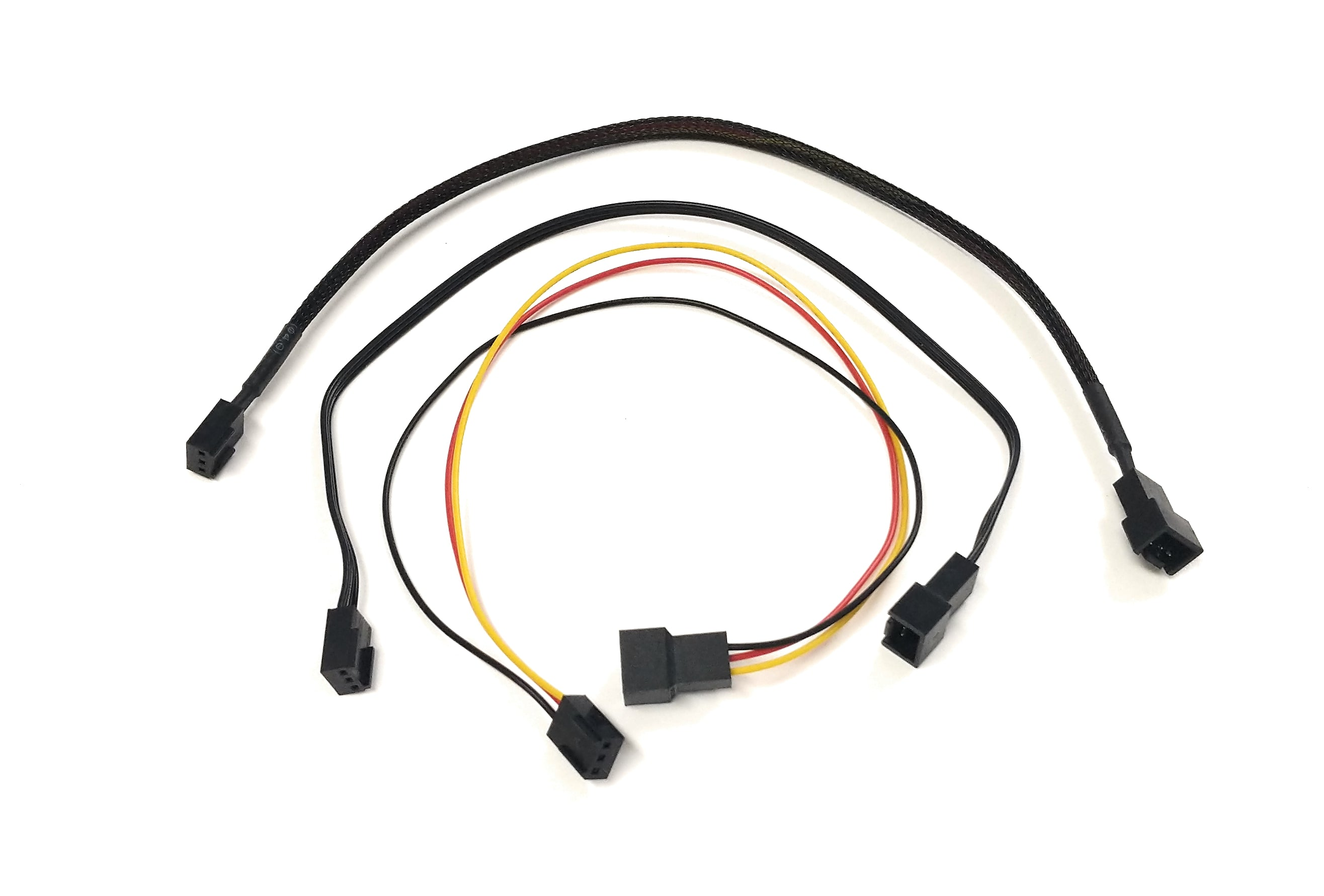Sleeved SATA 3Pin 4Pin Cooling Fan Power Adapter Extension Cable Wire Cord ME