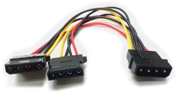 4-Pin Molex power splitter 6 inch wired and 12, 18, 30 and 36 inch Black Sealed