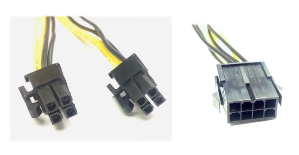 "8 pin EPS Molex power connector male ""Y"" to (2) 4 pin Pentium power EPS connector female"