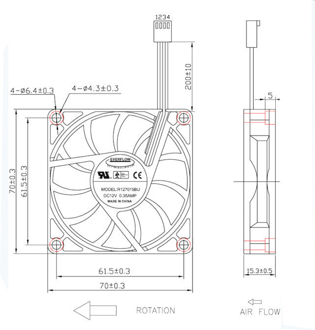 everflow 70x70x15mm pwm dual ball bearing 12 volt fan