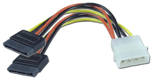 "6"" Serial ATA Power Y-Cable (4-pin - 15-pin) For Dual Serial ATA (SATA) Devices - Coolerguys"