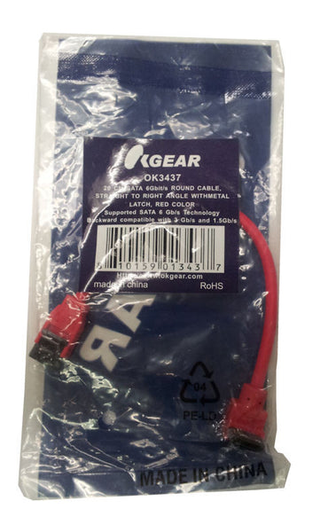 "OKGEAR Red SATA 3.0/6Gbit/s Premium Cable 8"" Straight to Right Angle"