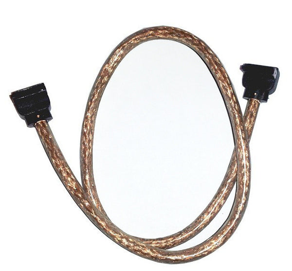 OKGear 18 inch Copper Premium SATA III Round Cable 6GB/s Right Angle to Right Angle w/latch