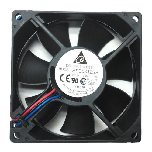 Delta 80X80X25mm 12 Volt High Speed Ball Bearing 3 Pin Fan AFB0812SH-F00 - Coolerguys