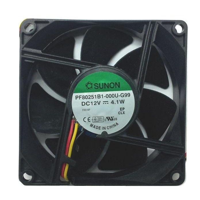 Sunon 80x80x25mm High Speed 12 Volt Fan with 3 Wire 3 Pin connector PF80251-000U-G99 - Coolerguys