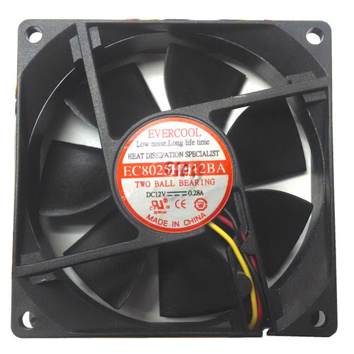 Evercool 80X80X25mm 12 volt Ultra High Speed Fan,3 pin #F-EC8025HH12BA