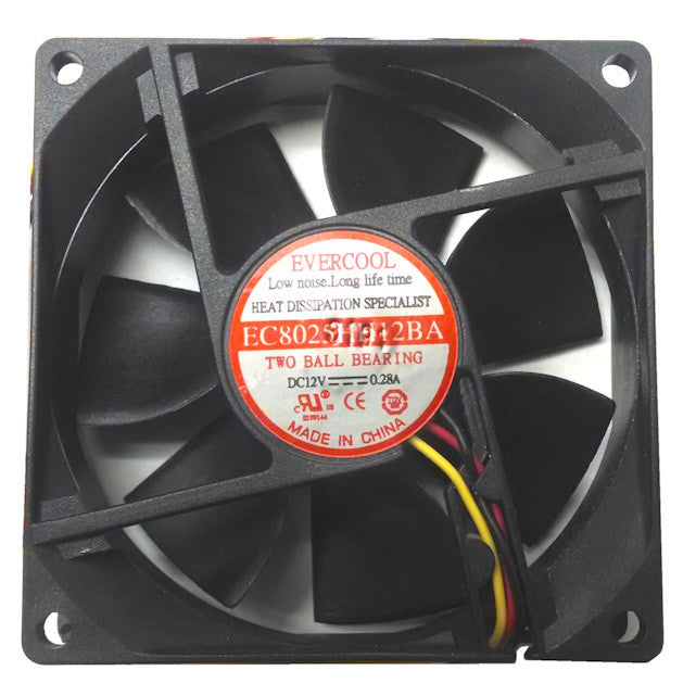 Evercool 80X80X25mm 12 Volt 3pin Ultra High Speed Fan #F-EC8025HH12BA Includes 4pin Adapter - Coolerguys
