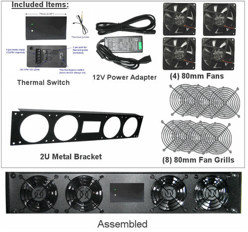 Coolerguys 2U Bracket with 80mm fans  /  Coolerguys Pre-Set Thermal Controller / 2A PSU