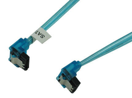 OKGEAR 36 inch SATA 3.0 cable,right angle to right angle,UV blue color #GC36AUBM22 - Coolerguys