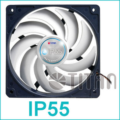 Titan IP55 120X120X25mm Rated Water and Dust Resistant Fan TFD-12025H12B - Coolerguys