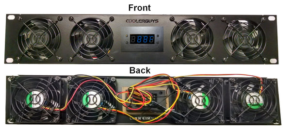 Coolerguys 2U Bracket with four High Speed Evercool 80mm fans(840556101567) / Programmable Fan Controller / 2A PSU