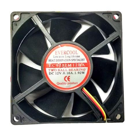 Evercool 92x32mm 12 volt fan with 3 pin connector # EC9232M12BA