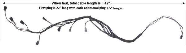 Modright Black out Series 3 pin to 9x3 pin Y splitter cable 24 inches #Cab-972