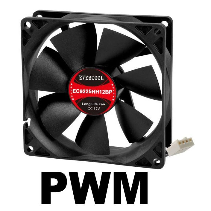 Evercool High Speed 92x92x25mm 12 Volt PWM Fan-EC9225HH12BP - Coolerguys
