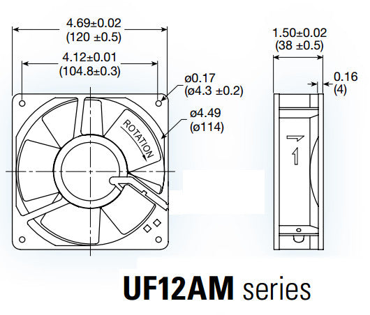 Mechatronics 230 volt 120x38mm High Temp Fan # UF12AM23-BTHR-F832