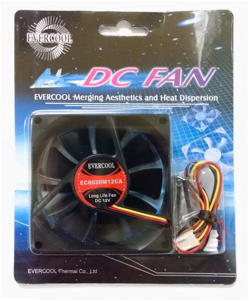 Evercool Medium Speed 80x20mm 12V fan 3Pin Connector #EC8020M12CA
